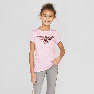 Girls DC Comics Wonder Woman Valentines Day SS Pink T-Shirt Hearts Glitter Logo