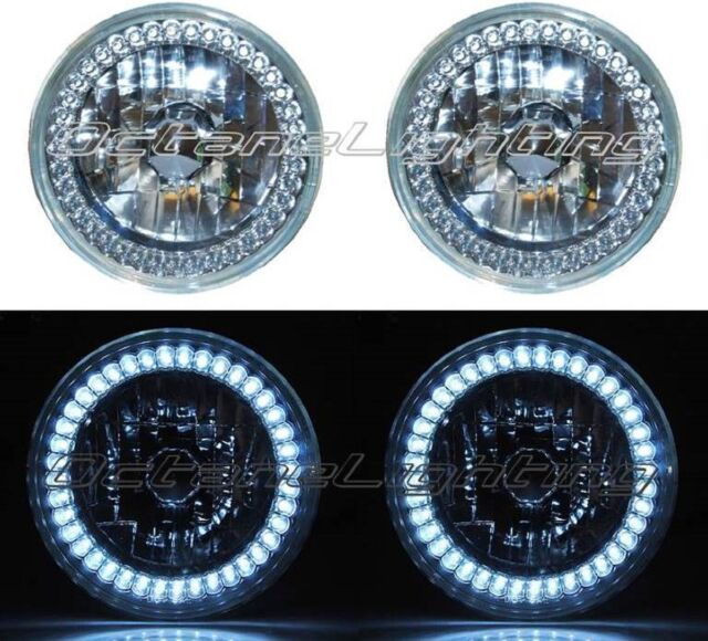 5-3/4 HALOGEN WHITE LED RING HALO ANGEL EYES HEADLIGHT HEADLAMP LIGHT BULBS PAIR