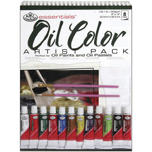 ART-SET-A4-Spiral-bound-Oil-Colour-painting-Pad-12-tubes-paint-amp-2-brushes-RD506
