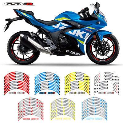 """Suzuki GSXR Rim Wheels 17-18/"""" Decal Stickers Racing Motorcycle 600 750 1000 1100"""