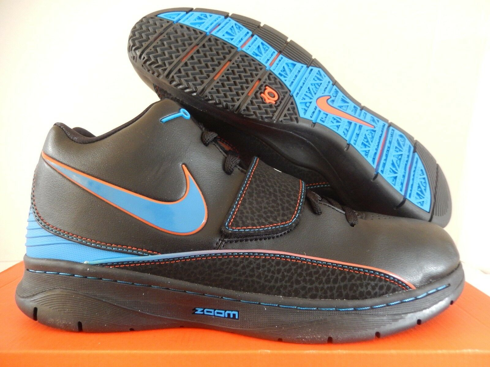 Nike kd ii 2 kevin durant nero-photo blue-team orange sz 10 raro![386423-041]