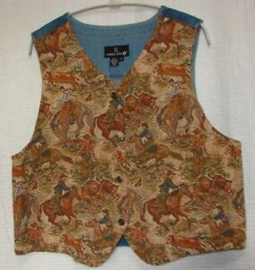 Carole-Little-Plus-Size-1X-Western-Tapestry-amp-Denim-Button-Front-Vest-USA-Made