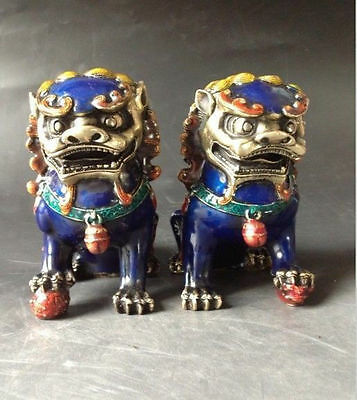 A Pair Chinese Cloisonne Copper Statue - Lion Foo Dog NR