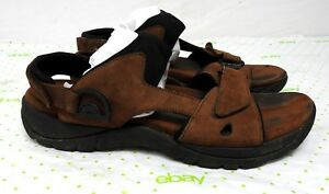 Minnetonka-men-039-s-size-12-brown-leather-sandals-shoes-6413