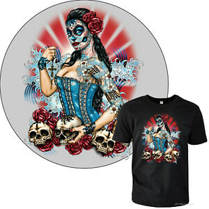 Tatuaggio T-Shirt Dia De Los Muertos Progettazione Teschio Old School 1011 Nero