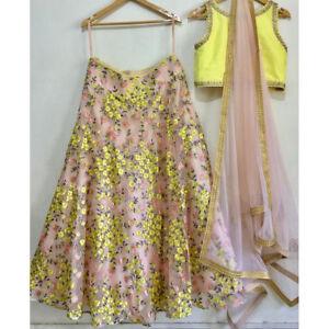 586acf5c4b Indian Clothes For Wedding NET Yellow Floral Lehenga Choli Pakistani ...