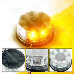 40W COB Flash Warning Light Rotating Roof Beacon Strobe Light Amber&White