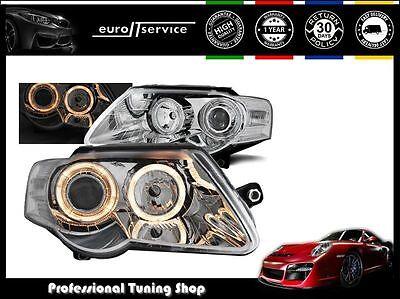 NEUF FEUX AVANT PHARES LPVWC6 VW PASSAT B6 3C 2005-2008 2009 2010 ANGEL EYES