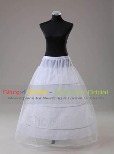 White//Black 3 Hoop Bridal Ball Gown Crinoline Petticoat Skirt Slip