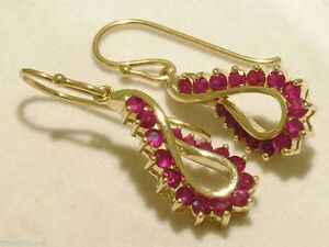 E046-Genuine-9ct-Solid-Yellow-Gold-NATURAL-RUBY-DROP-Earrings-Swirl-Dangles