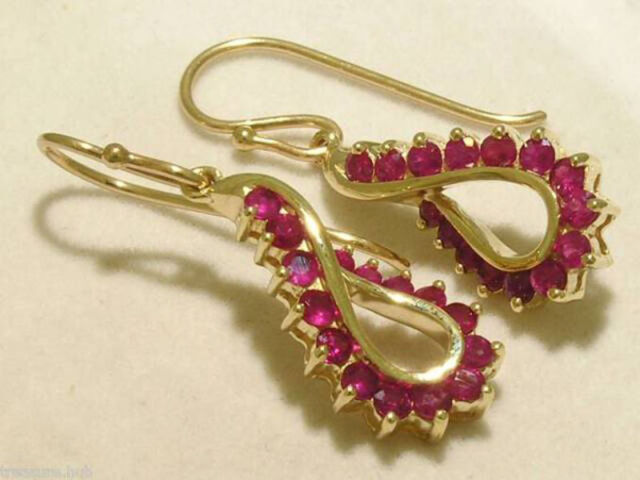 E046- Genuine 9ct Solid  Yellow Gold NATURAL RUBY DROP Earrings Swirl Dangles