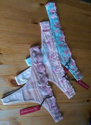3 pairs Gorgeous flower pattern thong size L 14-16 Peach with pink flowers BNWT