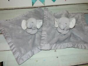Carters-Gray-Elephant-Satin-Furry-Plush-2016-Security-Blanket-Baby-Lovey-LOT-2