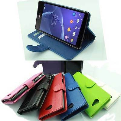 LEATHER FLIP WALLET STAND CASE COVER FOR SONY XPERIA Z3 PHONE WITH SCREEN