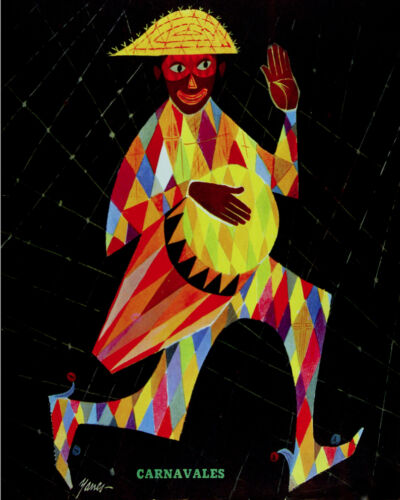 Character playing drums 1596 Carnival vintage POSTER Decorative Art.
