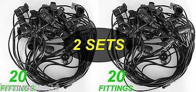 2 x 20 Piece Festoon / Party Light Fittings - 20 metres ea - Globes Not Included