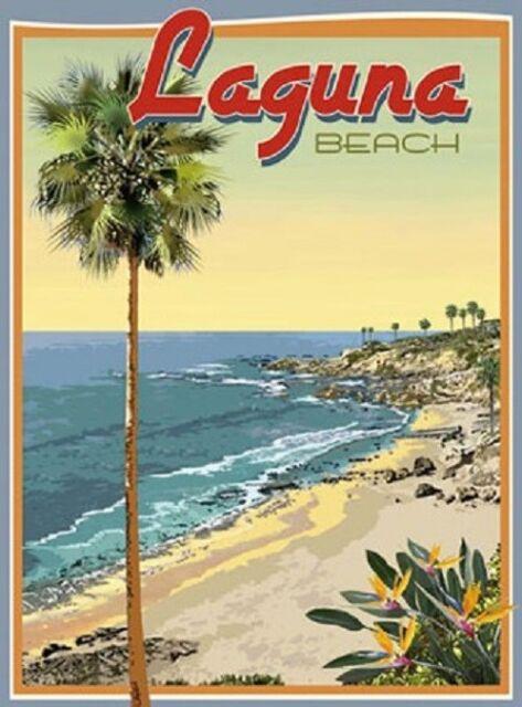POSTER ENJOY THE RIDE FISH LAGUNA BEACH CALIFORNIA TRAVEL VINTAGE REPRO FREE S//H