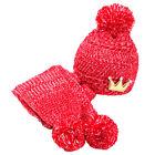 1x Bonnet Chapeau Tricot Echarpe Chaud Hiver Pour Enfant Bébé Fille Garçon Neuf