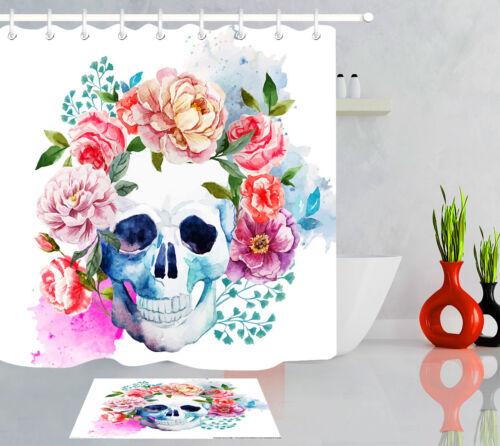 Watercolor Floral Sugar Skull Bathroom Waterproof Fabric Shower Curtain Set Hook