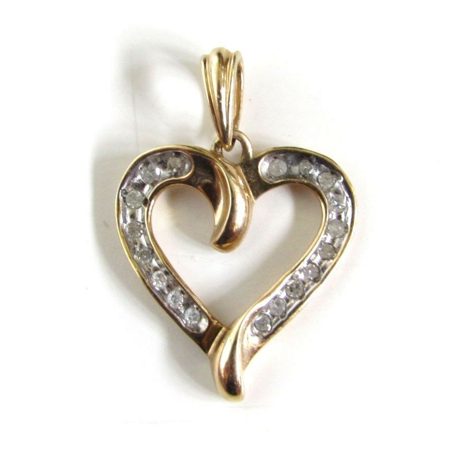 Ladies Fine 10K Yellow gold Diamond Heart Pendant, Scrolled Open Heart Design