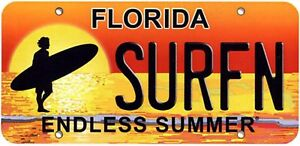 Surf-Florida-Vw-Van-Surfboard-Kayak-Bmx-windsurfing-skate-number-plate-usa
