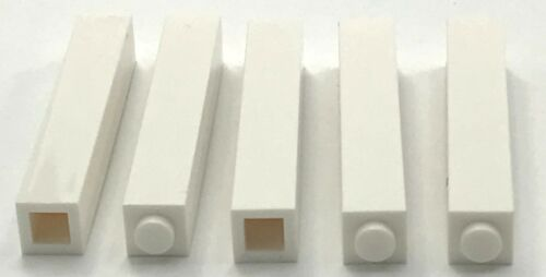 Lego 5 New White Brick 1 x 1 x 5 Solid Stud Pieces