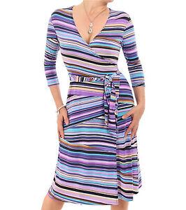 Blue-Banana-New-Purple-V-Neck-Patterned-Wrap-Dress-Three-Quarter-Sleeve