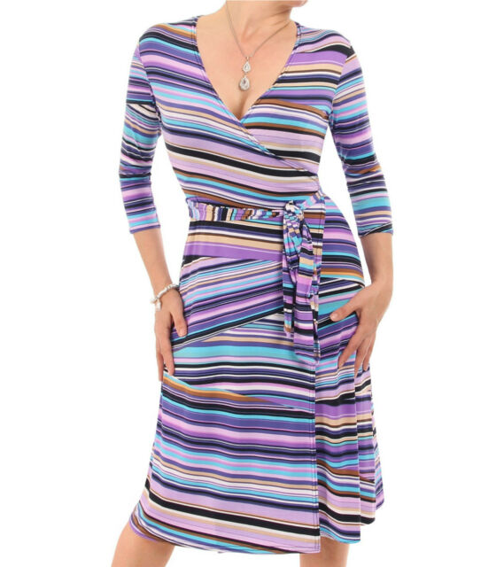 Blue Banana - New Purple V Neck Patterned Wrap Dress - Three Quarter Sleeve