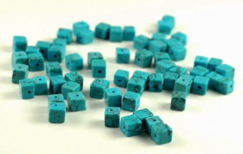6-7MM  TURQUOISE GEMSTONE SQUARE CUBE LOOSE BEADS 7.5/""