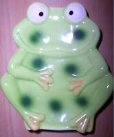 Kids Cute/silly Bathroom Counter Ceramic Green Frog Soap Holder/dish Unique