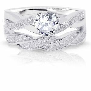 Infinity Celtic Simulated Diamond Heart Engagement Wedding Silver