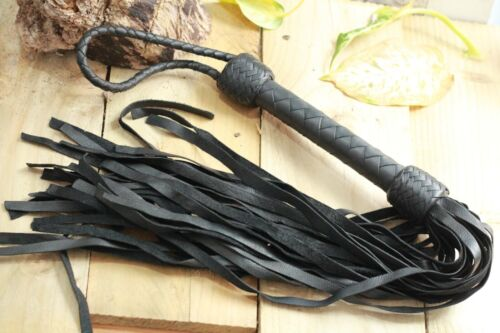 leather Bull Whip Flogger 30 Plus Tails Whip Black and Brown Genuine Leather UK