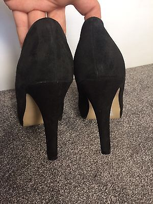 Asos belDe mujer Real Suede Negro Tacones Altos Tribunal Zapatos 5 UK 38 EU
