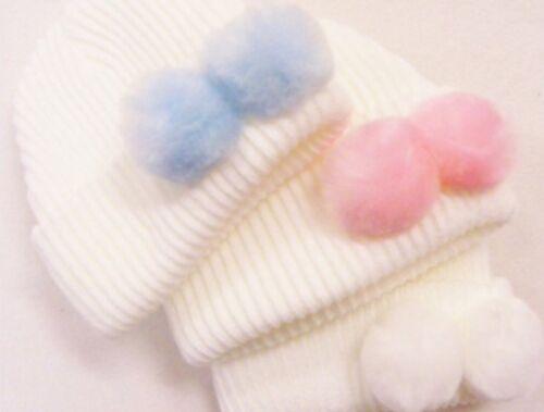 Sombrero de Bebé recién nacido con Blanco Rosa o Azul Pompones