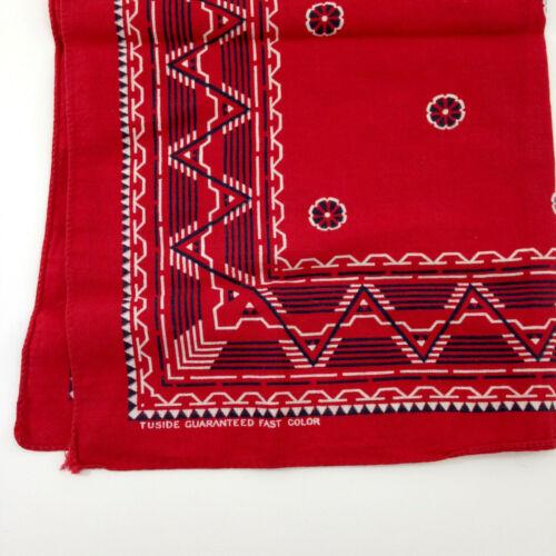 """Vintage TUSIDE Red Bandana 16"""" Guaranteed Color Fa"""
