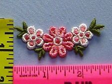 5 Daisies Flower Sew-on Patch Pink White Green Floral Venice Lace Applique #H14