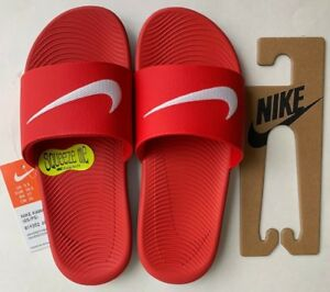 f5a10e6e4d15 Image is loading Nike-Kawa-kids-Slide-Sandals-Color-Red-White-