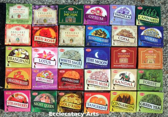 Hem Assorted Incense Cone Sampler Mixed VARIETY SET 20 Boxes = 200 Cones Bulk