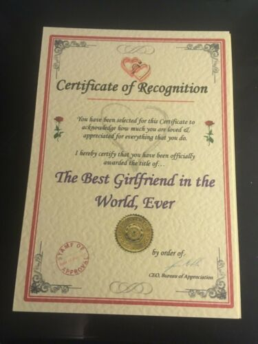 Someone Special Unusual Christmas Gift Certificate Husband Present D Wife