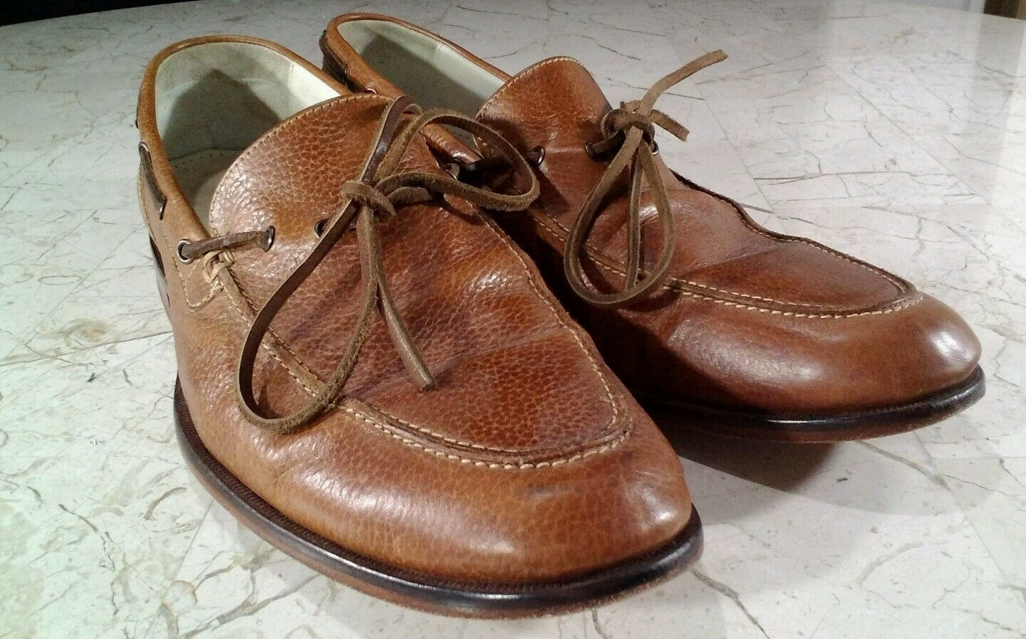 Cole Haan Tie Loafers 11M Brown Leather Grain Air C09348 X KO