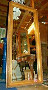 Large-Vintage-Full-Length-Beveled-Hall-Mirror-with-Ornate-Gold-Frame-76-034-x-32-034