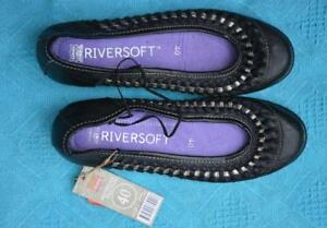 NEW-rrp-79-99-RIVERSOFT-Shoes-Comfy-BLACK-Size-40-8-5-SLIP-ON-FLATS-Silver-Trim
