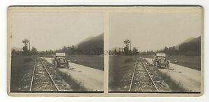 Route De St Jean L Abbye Automobile Foto Amateur Stereo Vintage Analogica 1920