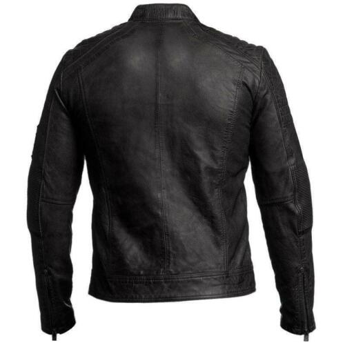 Giacca da motociclista invecchiata da uomo nera motociclista da motociclista da 8q8rT