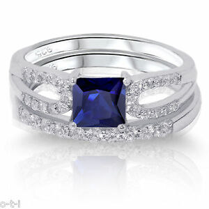 Princess-Cut-Blue-Sapphire-Engagement-Wedding-Sterling-Silver-Two-Ring-Set