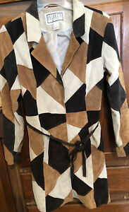 BB-Dakota-Womens-Patch-Work-Leather-Jacket-Coat-Pret-A-Porter-Large