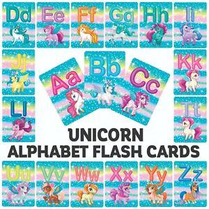ABC-Alphabet-Children-039-s-Unicorn-Flash-Cards-Kids-Educational-Pre-School-Learning