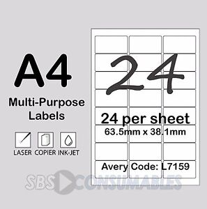 image relating to Printable Sticky Labels titled Facts around 24 For every Sheet White Printable Go over Labels. A4 Sticky Multi-Cause. 100 Sheets