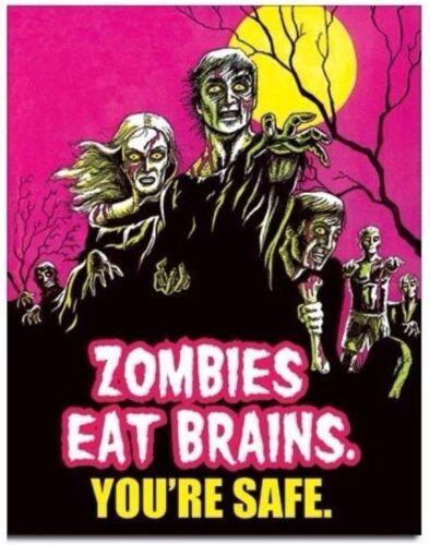 "Tin Sign  #1915 Zombies Eat Brains 12.5/"" x 16/"" Metal"