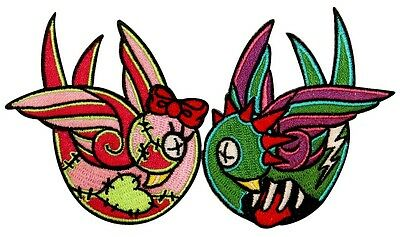 Creepy Zombie Dead Horror Gothic Iron On Patch - Zombie Swallows Pair KV76
